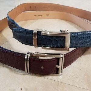 """alligator Nexbelt and Italian leather 40"""" belt"""